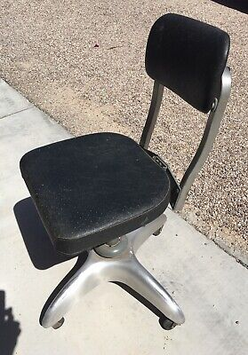 Vtg Goodform Aluminum Swivel Adjustable Office Desk Chair Stool Industrial Mcm