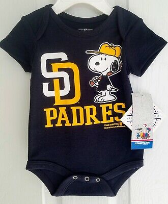 d1e3ee4c MLB San Diego Padres Infant Toddler One Piece Romper Snoopy Peanuts NWT