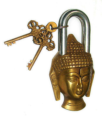 An attractive & unusual LORD BUDDHA Figure Brass Padlock with 2 keys from India