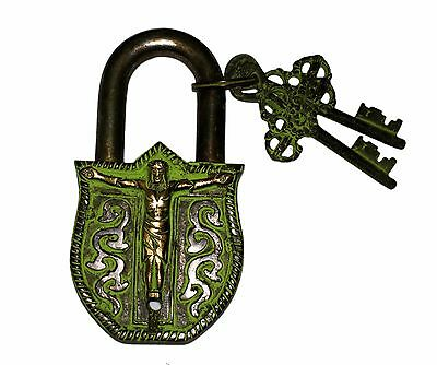 An Unusual VINTAGE LOOK LORD JESUS DESIGNED Padlock with 2 keys (MADE OF BRASS)