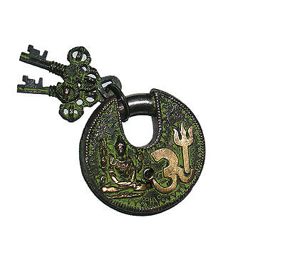 An Unusual CHARISMATIC Brass made Lord Shiva OM Figure PADLOCK 2 keys from India