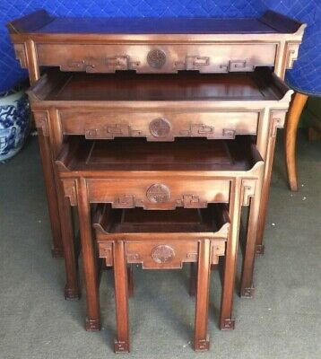 Carved Chinese Nesting Tables