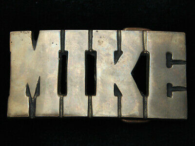 RC05105 VINTAGE 1970s CUT-OUT NAME **MIKE** SOLID BRASS BARON BELT BUCKLE
