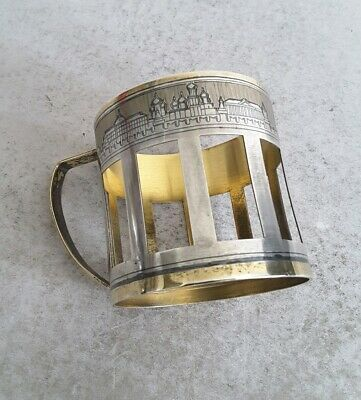 RUSSIAN VINTAGE SOLID SILVER / GILT / NIELLO GLASS HOLDER.   MK'D 875.   c.1940.