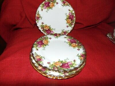 """4 Royal Albert Old Country Roses Bread Plates 6"""" Bone China Made In England 1962"""