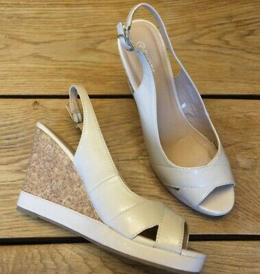 707d462f8a Women's Matalan Size 6 Patent Nude Faux Leather Wedges Shoes Cork 4
