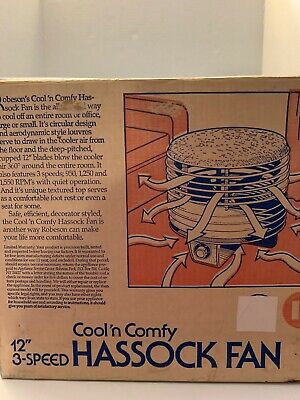 """Vintage Robeson Cool N Comfy 12"""" 3 Speed Hassock Fan In Original Box Gray Silver"""