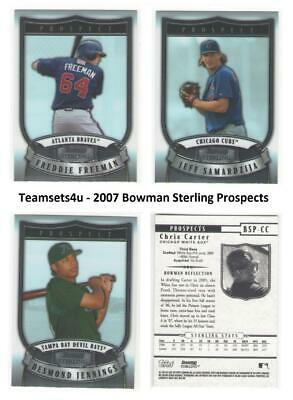 2007 Bowman Sterling Prospects Baseball Set  ** Pick your Team ** See Checklist