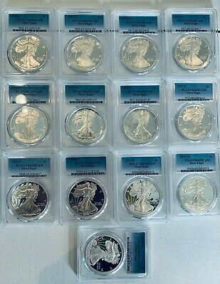 1986 - 2008 Silver Proof Eagle PCGS PF69 Mixed Lot 13 Coins includes 1993 + 1994