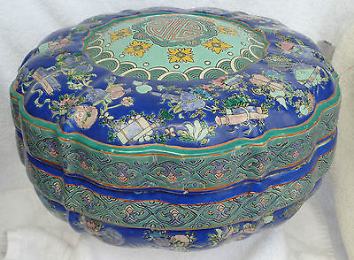 ANTIQUE CHINESE CIRCULAR BOX LARGE / 1800s/JINGDEZHEN PORCELAIN***REDUCED 14%***