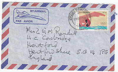 M9023 Zimbabwe air cover to UK, 1984. Solo 21c Olympic swimming stamp.