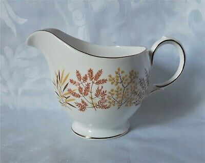 Royal Vale Milk Jug Fine Bone China Tea Set Creamer Brown And Yellow Leaves