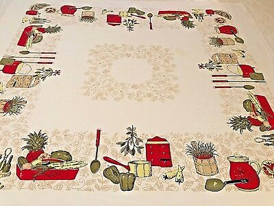 """Vintage Table Cloth Cotton Red Green Cottage Kitchen Cooking Kitsch 46""""x52"""" CL3"""