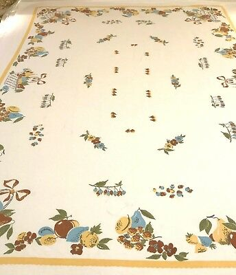 """Vtg Table Cloth Textured Cotton Pears Apples Fruits Blue Golden Tan 54""""x62"""" CL5"""
