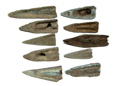 Rare Lot Of 10 Greek Bronze Arrow Heads, Broad Variety!!!