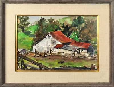 California Watercolor Red Roof Barn by Helen Gibson 1969