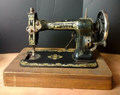 Vintage White Rotary Sewing Machine. Great Graphics