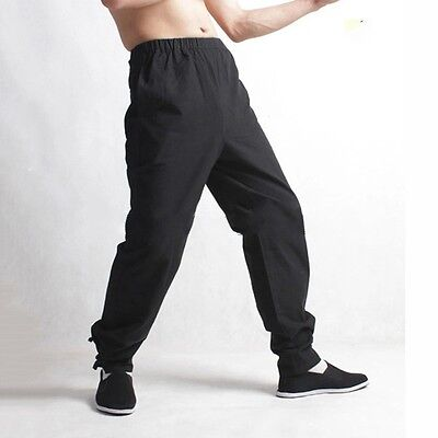 Mens Pants Chinese Japanese Style Kung Fu Tai Ji Trousers Tang Suit Loose hmk