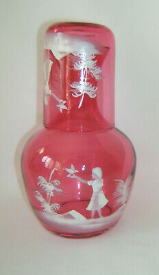 Fenton Mary Gregory Cranberry Tumble Up  Bedside Water Set Carafe & Tumbler