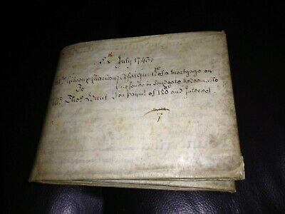 A VELLUM Mortgage DOCUMENT from 1743 - seals and stamps