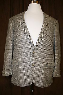 Orvis Houndstooth Blazer Suit Jacket Multi Color Plaid Wool USA Made 44R Mens