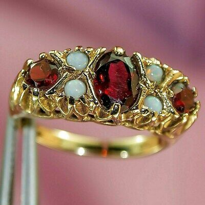 Antique Real Natural FIERY OPAL GARNET 9k SOLID GOLD English RING Victorian Rev