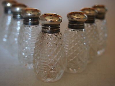 Fine Set 6 Vtg Antique Sterling Silver Cut Glass Miniature Salt Pepper Bottles