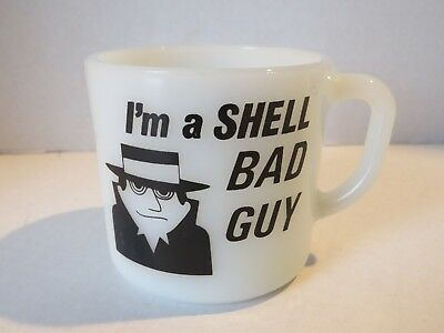 Vintage Federal Milk Glass Coffee Mug Cup I'm A SHELL Bad Guy I Had A Bad Idea
