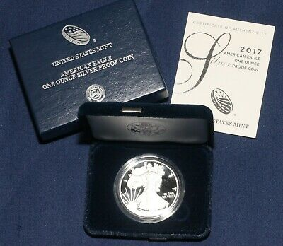 2017-W $1 SILVER PROOF AMERICAN EAGLE 1 OZ COIN w/Case and COA  LOT 130935
