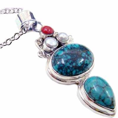 *TURQUOISE_CULTURED PEARL_CORAL*_PENDANT_w/CHAIN__925 STERLING SILVER