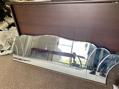 Vintage Art Deco Mantle  Mirror With Beville And Scallop Edge