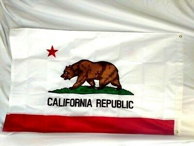 3 foot x 5 foot Sewn Stripe California  State Flag Embroidered New Outside In