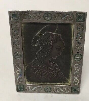 Antique Solid Silver Enamel Frame, Engraved Religious Figure Woman Halo