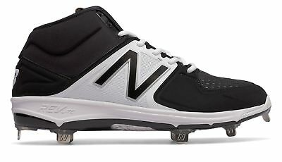 New Balance Mid-Cut 3000v3 Metal Baseball Cleat Mens Shoes Black with White Size