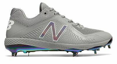 New Balance Low-Cut 4040v4 Metal Baseball Cleat Mens Shoes Grey with White Size