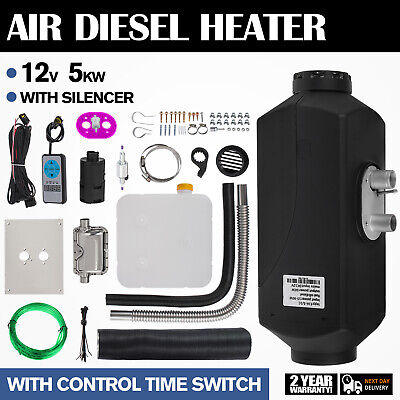 5KW 12V Air Diesel Heater Timing Temperature Control Fuel line Trailer Truck