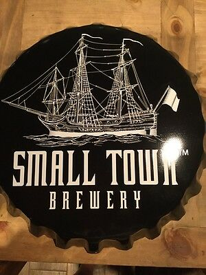 NEW Small Town Brewery Metal Beer Cap Sign