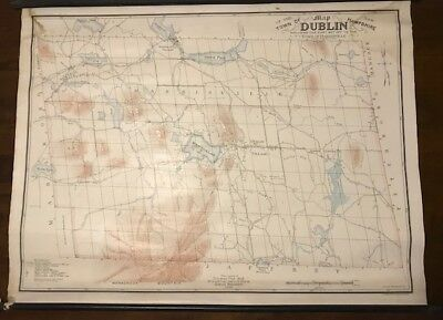 Antique Wall Map - Dublin New Hampshire NH - Fisk 1853 Wadsworth 1906