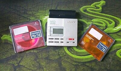 Sony Portable MiniDisc Recorder MZ-R90 SILVER  MD Walkman with TWO MD VGC