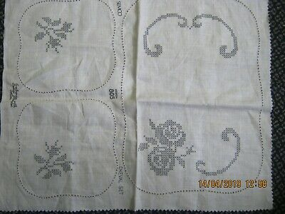 vintage stamped spoked linen floral duchess cheval doiley set cross stitch semco