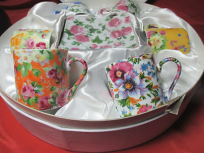 New!! Six Chintz Style Floral Pattern Demitasse Espresso Cup & Saucer