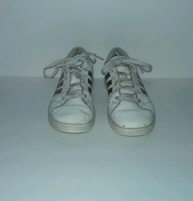 promo code a2624 796c5 ADIDAS SUPERSTAR SHOES size 4.5 Girls White Leather Rose Gold Stripe 789006