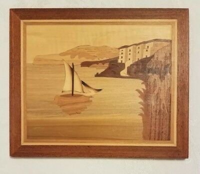 Vintage Italian wooden Marquetry Wall Plaque Wood Inlaid Picture Italy