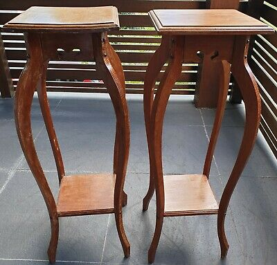 A Pair of Silky Oak Plant Stands