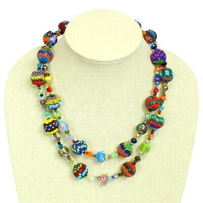 Czech Glass Bead Fiesta NECKLACE Strand MULTI-COLOR BRIGHTS Guatemala