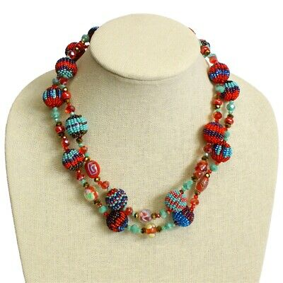 Czech Glass Bead Fiesta NECKLACE Strand TURQUOISE, RED Guatemala