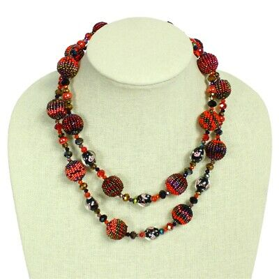 Czech Glass Bead Fiesta NECKLACE Strand RED, GARNET Guatemala
