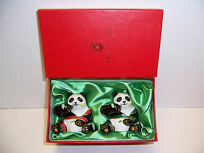 Lynn Chase Designs Panda Bears Salt & Pepper Shakers & Stoppers Jungle Party NIB