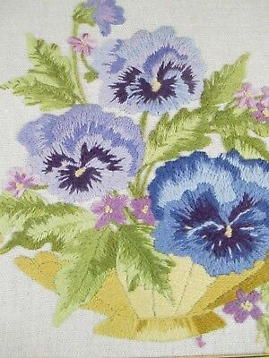 Beautiful Vintage Complete Framed Crewel Embroidery Blue Purple Pansies In Bowl