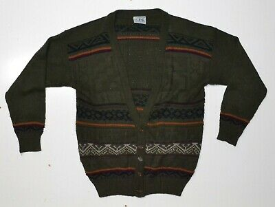 Vintage Mens Acrylic Cardigan Size XL Grandpa Sweater Ugly Hipster Grunge
